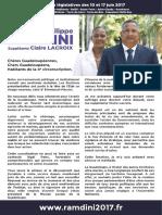 Profession de foi Hugues dit Philippe Ramdini - Législatives 4e circonscription de la Guadeloupe