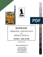Hawkjaw Sr. Manual 100K-2GSR Serial Numbers 101 to 120