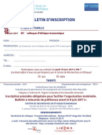 Le bulletin d'inscription pour le colloque