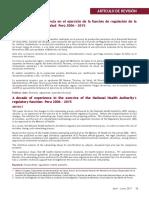 Una Década de Experiencia en el Ejercicio de la Función de Regulación de la ANS