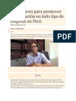 Cinco Claves Para Promover La Innovación en Todo Tipo de Empresa en Perú