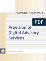 MAS Consultation Paper on Provision of Digital Advisory Services