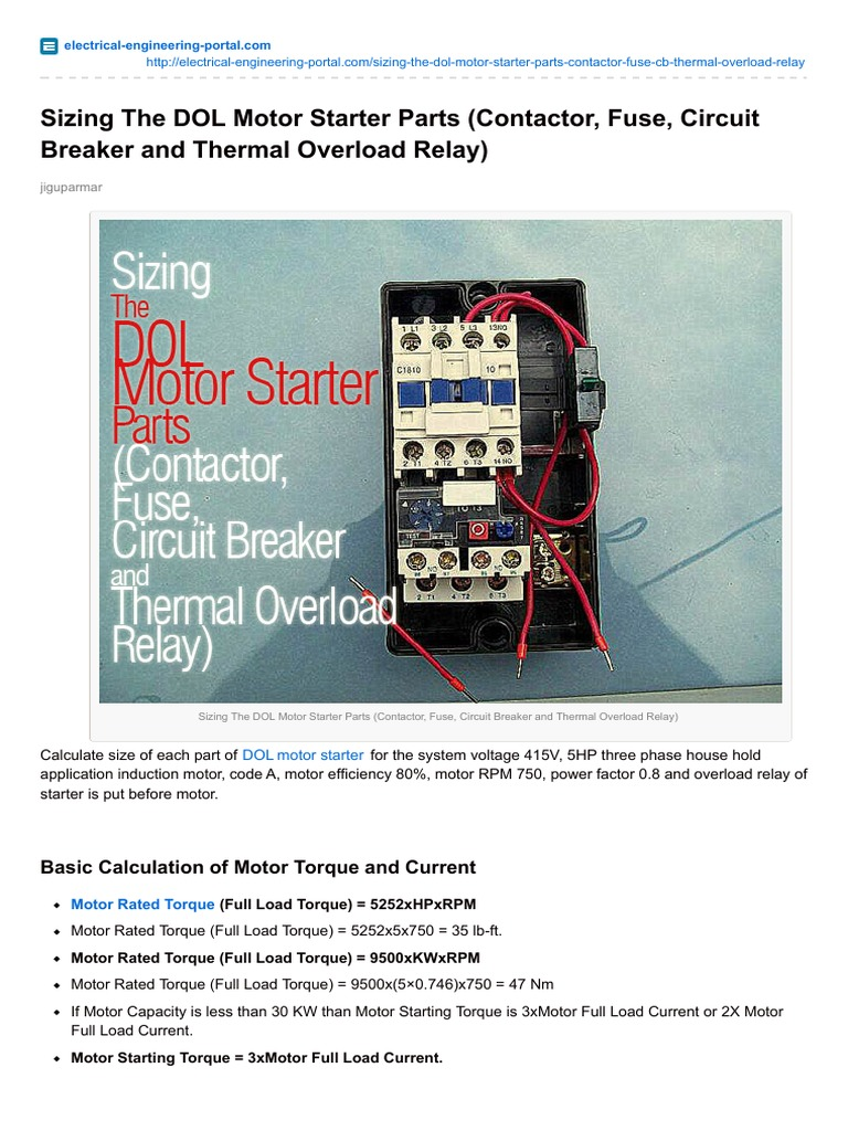 Sizing the dol motor starter parts contactor fuse circuit breaker sizing the dol motor starter parts contactor fuse circuit breaker and thermal overload relay fuse electrical relay asfbconference2016 Images