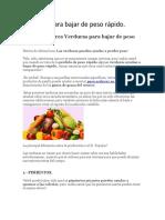 Verduras Para Bajar de Peso Rápido
