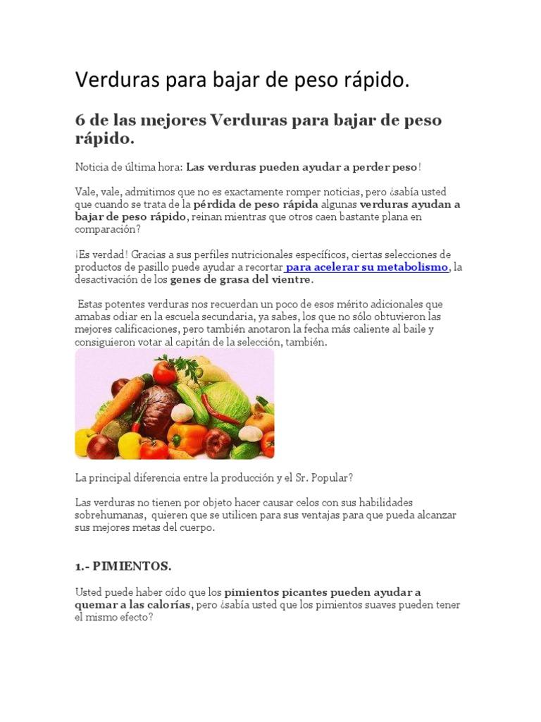 Que verduras ayudan a bajar de peso