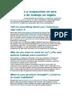 Entrevista Preguntas en Ingles