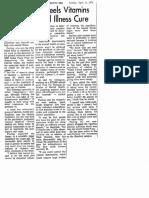Linus Pauling Feels Vitamins Maybe Mentall Illness Cure