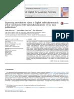International Publications Versus Local Publications