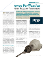 Performance Verification for Platinum Resistance Thermometers