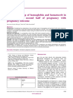 The Relationship of Hemoglobin and Hematocrit in the First and Second Half of Pregnancy With Pregnancy Outcome