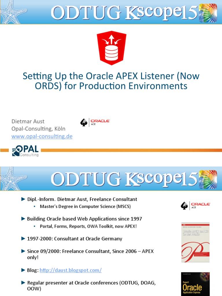 daust settingUpOrds | Oracle Database | Web Server