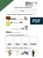 Evaluacion Lenguaje  consonantes n d t