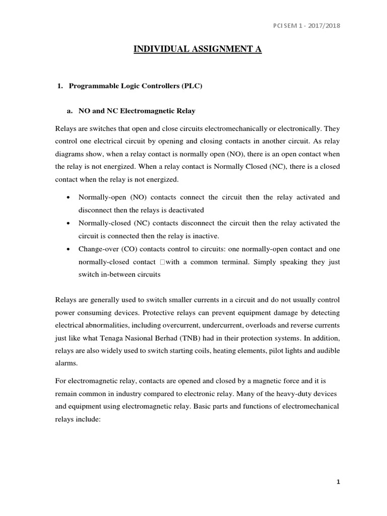 Pci Individual Assignmentdocx Programmable Logic Controller Relay Common Terminal In