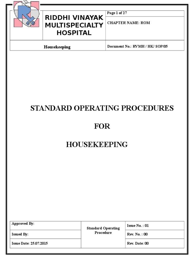 5 housekeeping sop housekeeping hygiene rh scribd com Housekeeping Training Sheet Daily Housekeeping Training