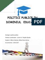 Politici Publice in Domeniul Educatiei