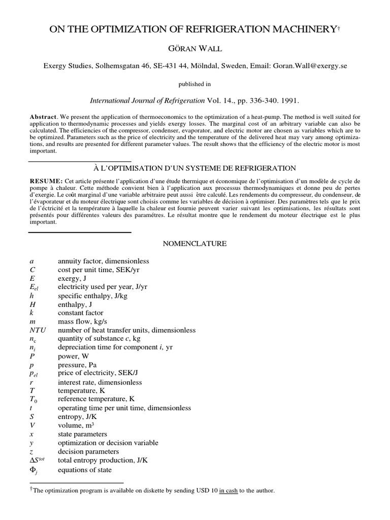 Credit Impot Chauffage Reversible optimization of refrigeration machinery(1991)goran wall