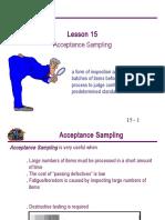 15 Acceptance Sampling