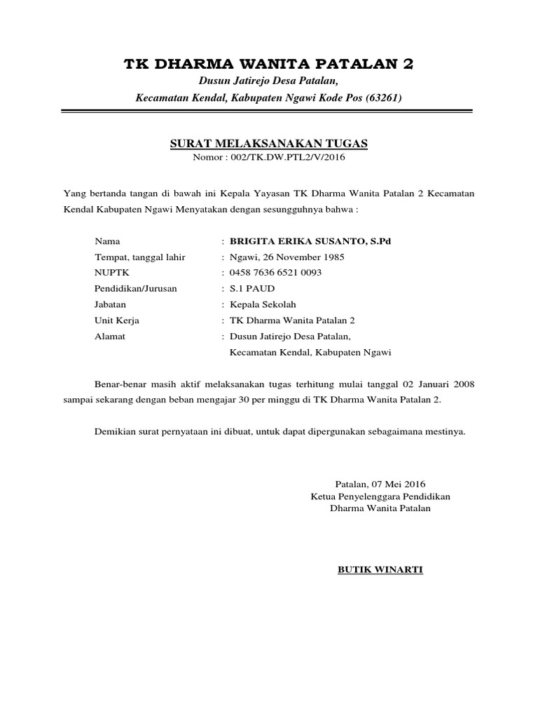 Surat Pernyataan Aktif Mengajar Tk Dharma Wanita Patalan 2 Tweerbaru