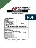EVALUACI+ôN PSICOPEDAG+ôGICA HOJAS DE RESPUESTA 2016