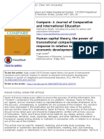 Human Capital Theory, The Power of Transnational Companies and a Political Response in Relation to Education and Economic Development