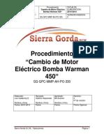 SG-GPC-MMP-AH-PO-330 Cambio de Motor Eléctrico Bomba Warman 450