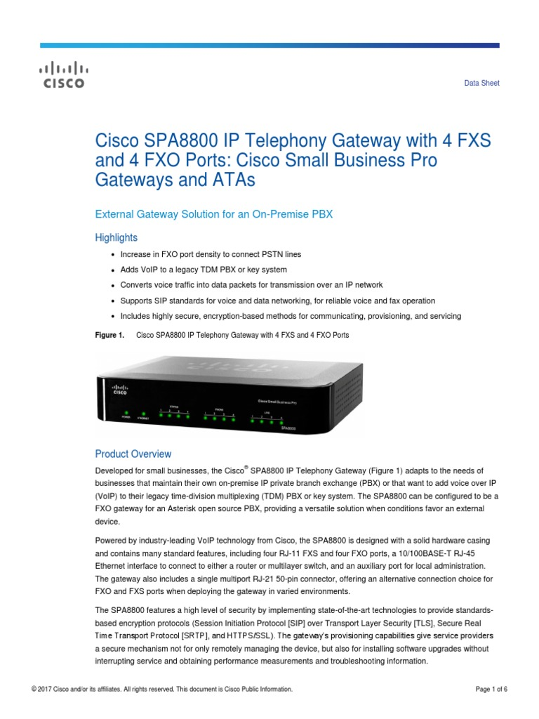 Data Sheet Ciscopbx (X) | Voice Over Ip | Session Initiation