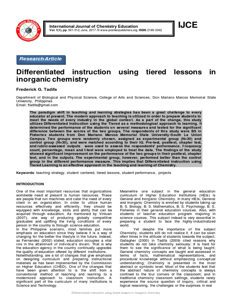 Differentiated Instruction Using Tiered Lessons In Inorganic