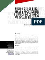 Situación de Los Niños, Niñas y Adolescentes Privados de Cuidados Parentales en México