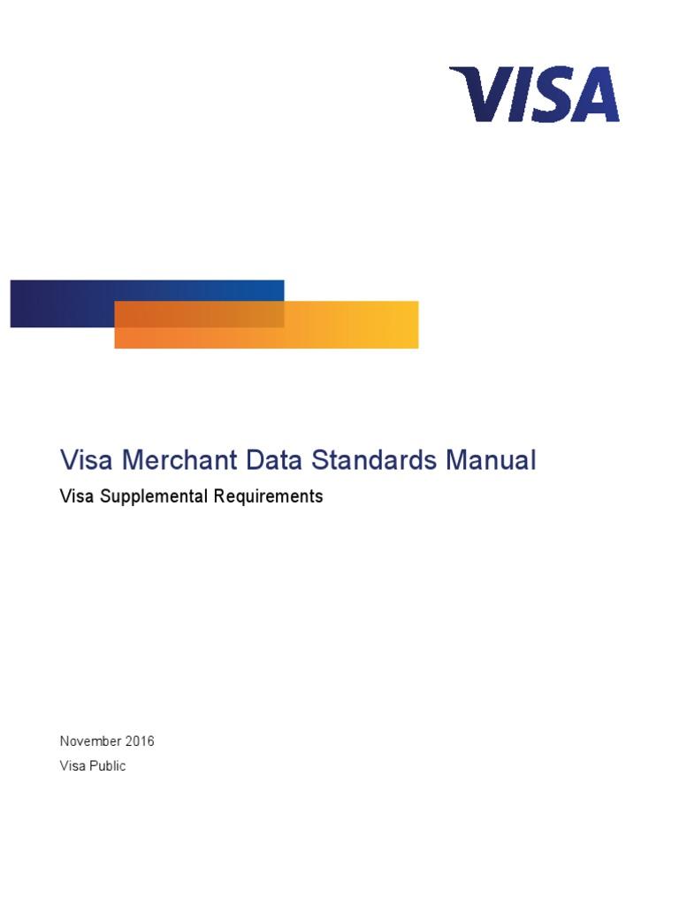 Visa Merchant Data Standards Manual | Visa Inc. | Marylebone Cricket Club