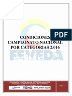 Condiciones Nacional Por Categorias 2016