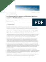 Gacetilla El Contacto Entre Dos Mundos Incompatibles Mecanica Cuantica y Mecanica Clasica. Por S.fortin