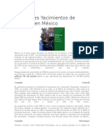 Principales Yacimientos de Petróleo en México