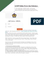 Daftar Masalah DJP Online Error Dan Solusinya