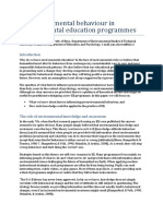 Proenvironmental Behaviour in Environmental Education Programmes