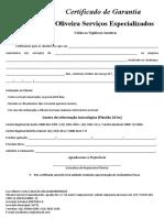 Certificado de Garantia Oliveira ME