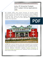 Central University Of Himachal Pradesh Recruitment
