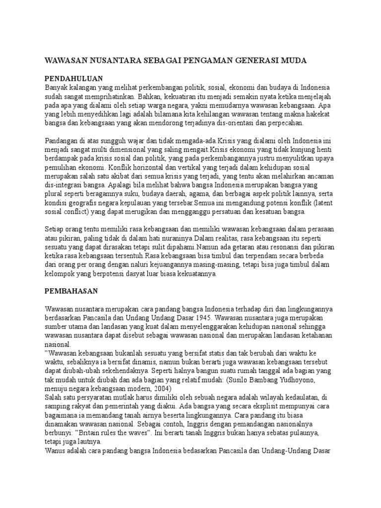 Wawasan Nusantara Sebagai Pengaman Generasi Muda