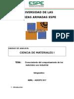 Conocimiento Del Comportamiento de Los Materiales Uso Industrial
