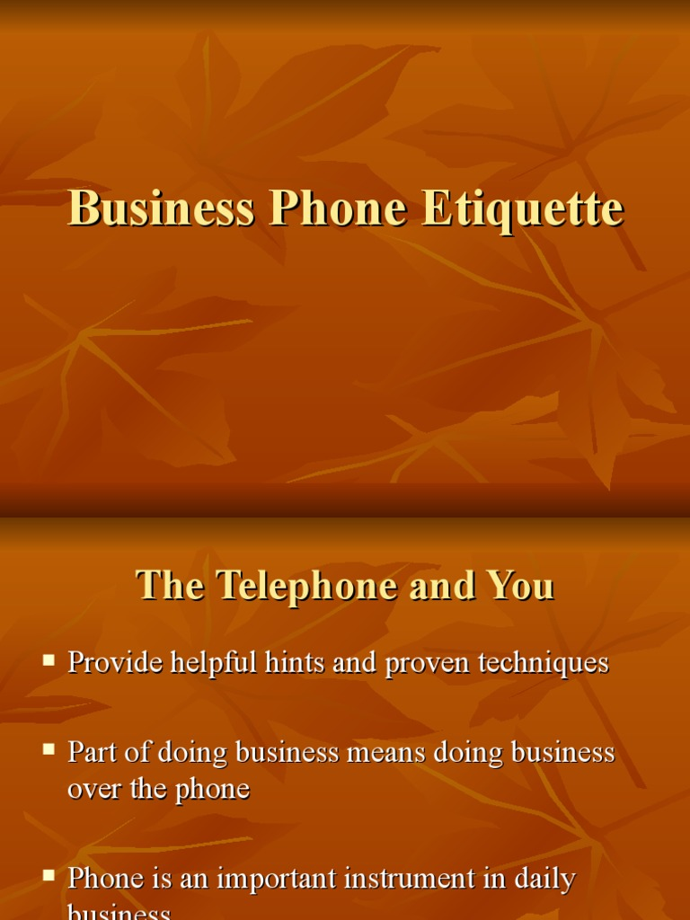Business Phone Etiquette | Telephone | Conversation