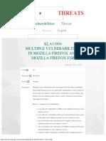 Vulnerabilities (KLA11004) Mozilla Firefox & Firefox ESR