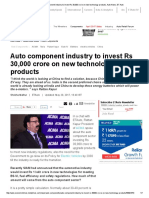 ACMA_ Auto Component Industry to Invest Rs 30,000 Crore on New Technology Products, Auto News, ET Auto