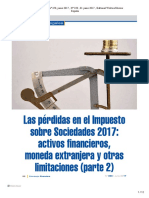 Las Perdidas en El Impuesto Sobre Sociedades 2017_ Activos Financieros, Moneda Extranjera y Otras Limitaciones (Parte 2)