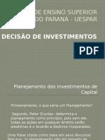 Avaliação de Investimentos e Inflação