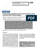 Petrographic evaluation of rocks around Arikya and its environs, North Central Nigeria