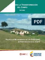 Política de Mejoramiento de Las Condiciones de Habitabilidad en El Campo