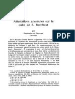Attestations Anciennes Sur Le Culte de S. Rombaut Par Baudouin de GAIFFIER