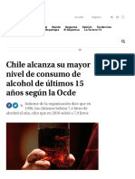 Chile alcanza su mayor nivel de consumo de alcohol de últimos 15 años según la Ocde