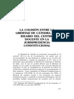 Colisión Libertad de Cátedra e Ideario Centro Docente-Artiach Camacho