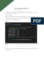 Como Percorrer Arrays Em C#