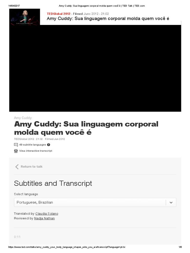Amy cuddy sua linguagem corporal molda quem voc ted talk tedpdf fandeluxe Choice Image